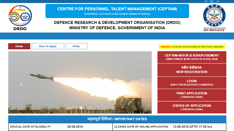 CEPTAM Senior Technical Assistant, DRDO CEPTAM Recruitment 2018, Senior Technical Assistant jobs, DRDO CEPTAM STA Recruitment 2018, latest government jobs, education news, employment news, drdo.gov.in, ceptam09.com