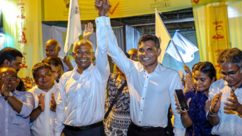 Celebrations broke out across the troubled island nation with Opposition supporters carrying the yellow flag of Solih's Maldivian Democratic Party