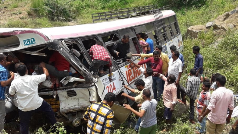 Telangana bus accident: 40 feared dead as bus falls into gorge in Kondagattu