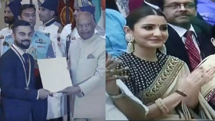Anushka Sharma cheers as husband Virat Kohli receives Khel Ratna Award at Rashtrapati Bhavan
