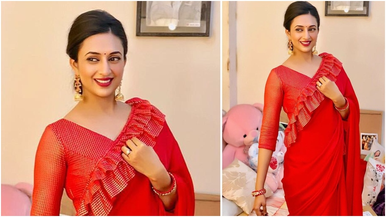 56a0a736eb4d7d Divyanka Tripathi looks exquisite in ruffled red saree, see photos ...
