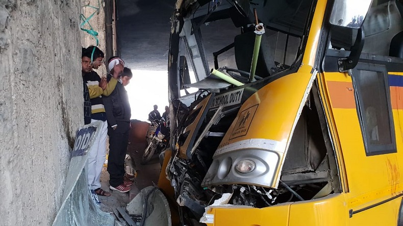 Noida: 12 students injured as school bus rams into divider at Rajnigandha Chowk underpass, driver critical