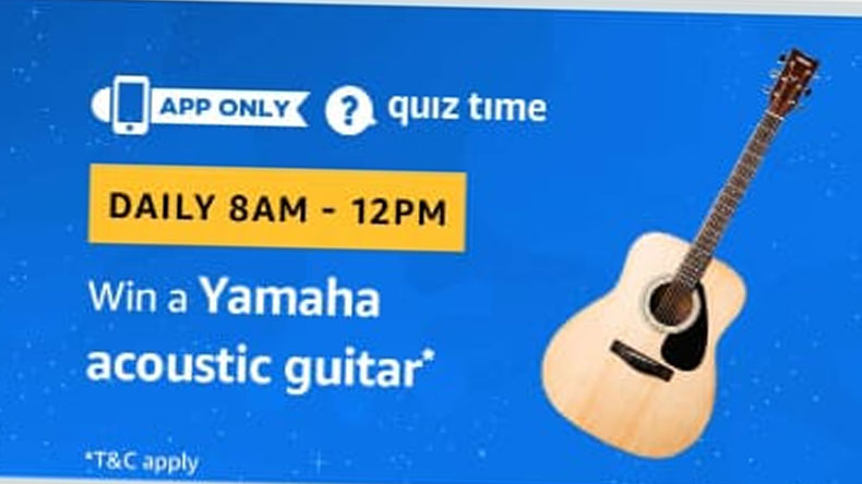 Amazon Quiz, Amazon Quiz today, Friday, January 11 2019, Amazon Quiz questions and answer, Yamaha acoustic guitar, Yamaha F310, 6-Strings Acoustic Guitar, Natural, Acoustic guitar prize, acoustic guitar brands, amazon guitars