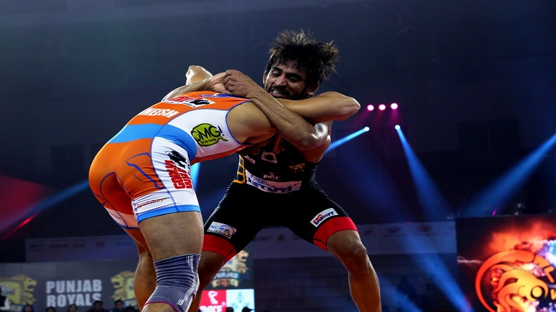 PWL 4- Padma Shri Awardee Bajrang Punia of Punjab Royals grapples Rajneesh of Haryana Hammers