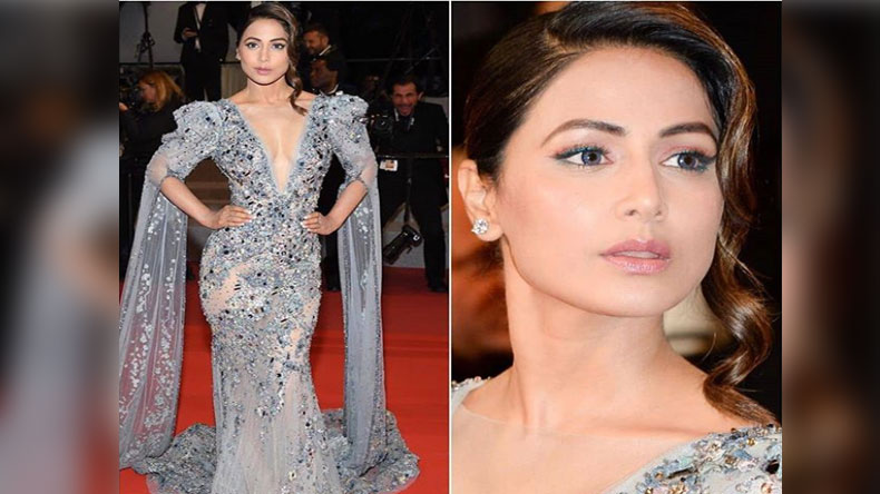 Hina Khan makes her red carpet debut in a plunging neckline grey embellished gown