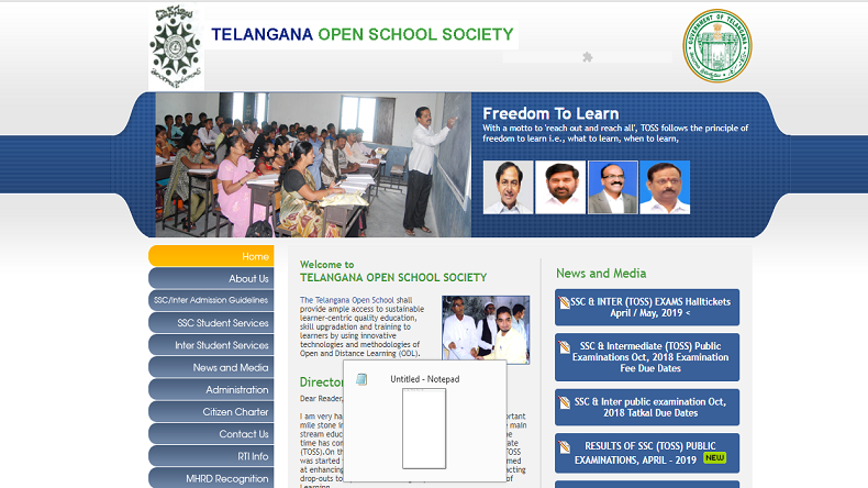 TOSS Result 2019: Telangana Open School SSC and Inter