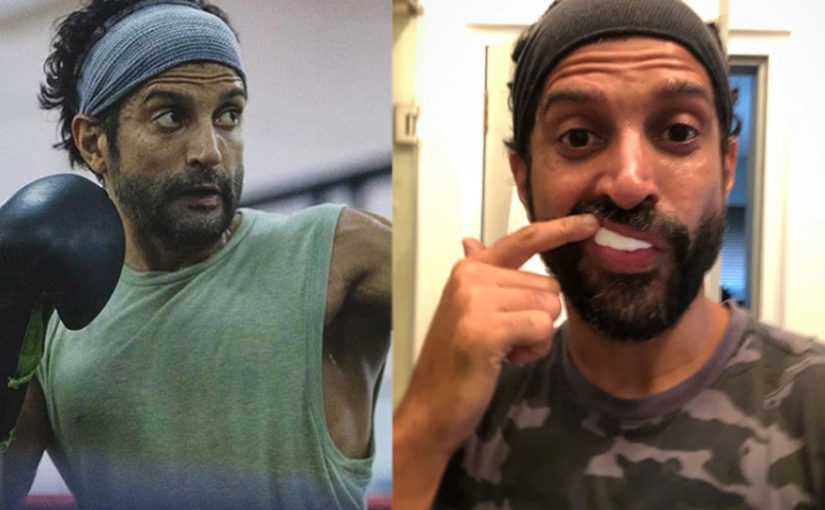 Farhan Akhtar shares a quirky BTS picture wearing a mouthgaurd