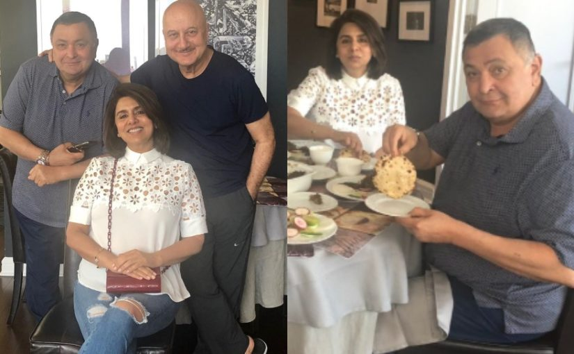 Rishi Kapoor enjoys lunch with Neetu Kapoor and Anupam Kher in New York