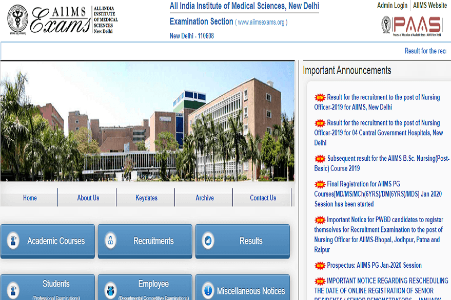 AIIMS Nursing Officer merit list 2019 out; know how to download @ aiimsexams.org