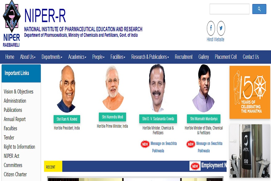 NIPER Recruitment 2019: Applications invited for registrar, system engineer and other posts, know how to apply