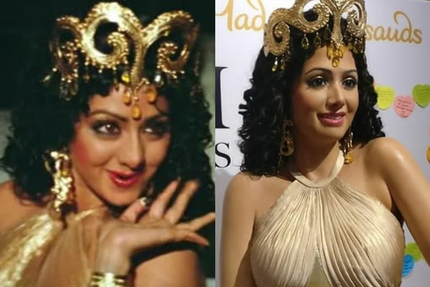 Image result for Sridevi's 'Hawa Hawai' wax statue unveiled at Tussauds in Singapore