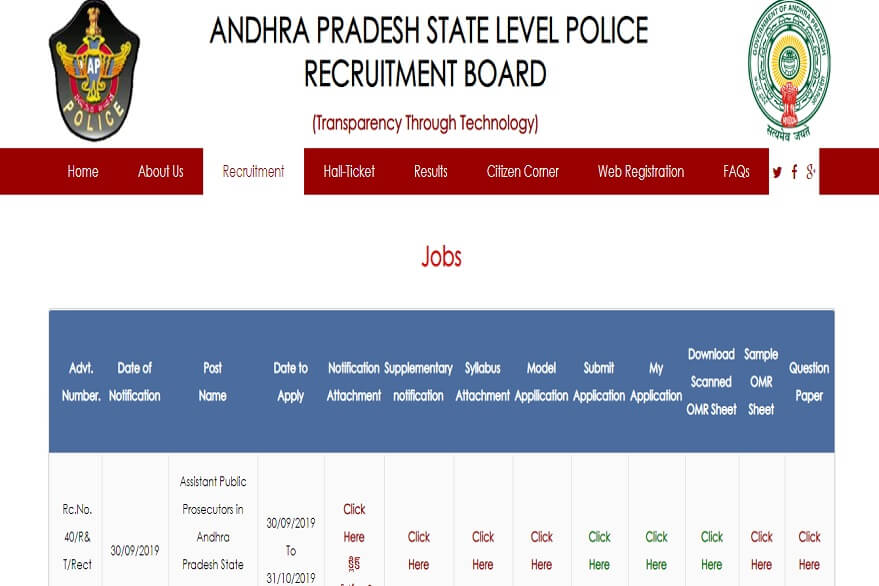 Andhra Pradesh Police recruitment 2019: 50 vacancies available for assistant public prosecutors posts