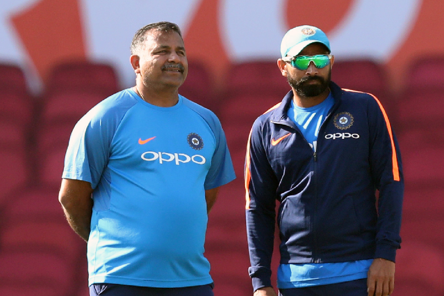 India bowling coach Bharat Arun with Mohammed Shami